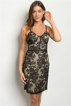 S13-10-3-D2208 BLACK TAN DRESS 2-2-2
