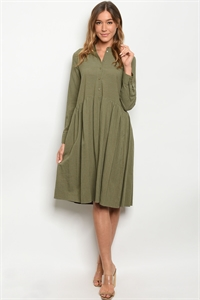 S23-12-1-D1539 OLIVE STRIPES DRESS 1-2-2