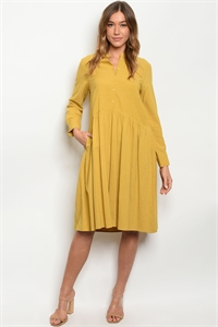 S23-12-1-D1539 MUSTARD STRIPES DRESS 2PCS