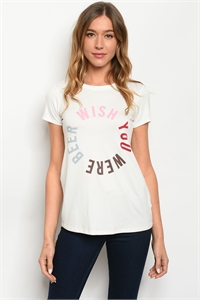 "S2-8-5-T4932 OFF WHITE ""WISH YOU WERE BEER"" PRINT TOP 2-2-2-1"
