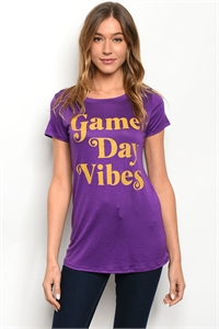 "S2-8-5-T4949 PURPLE ""GAME DAY VIBES"" PRINT TOP 2-2-2-1"