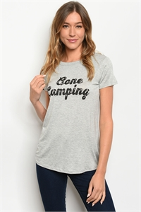"S2-8-5-T4996 GREY ""GONE CAMPING"" PRINT TOP 2-2-2-1"