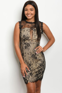 S14-8-2-D2210 BLACK TAN DRESS 2-2-2