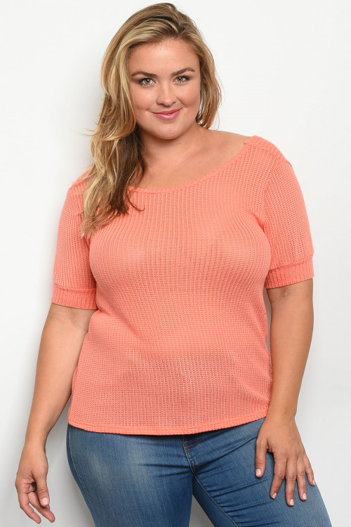 C18-B-1-T1954X CORAL PLUS SIZE TOP 2-1-1