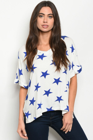 C81-A-2-T50414 WHITE BLUE WITH STARS PRINT TOP 2-2-2