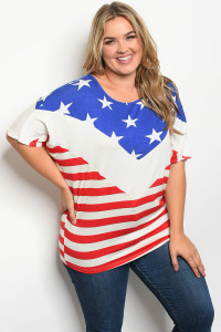 S22-12-4-T30794X BLUE RED WITH STARS PRINT PLUS SIZE TOP 2-2-2