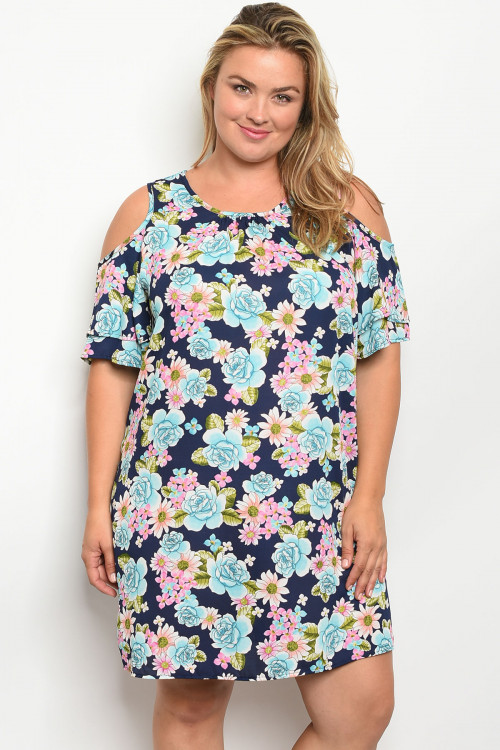 C7-A-7-D028X NAVY FLORAL PLUS SIZE DRESS 2-2-2