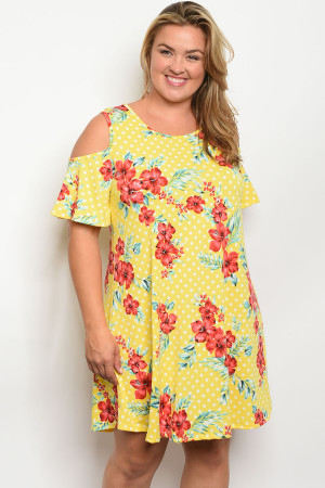 C7-A-7-D016X YELLOW FLORAL WITH DOTS PLUS SIZE DRESS 2-2-2