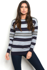 S21-3-1-S8528 NAVY BLUE STRIPES SWEATER 3-3