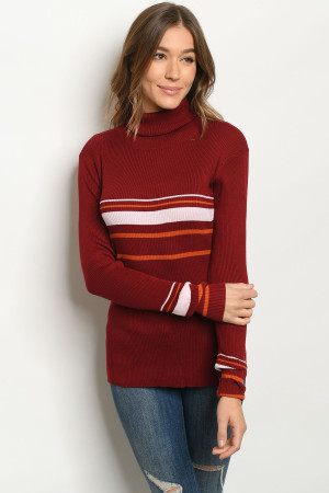 S10-7-4-T8634 BURGUNDY PINK SWEATER 2-2-2