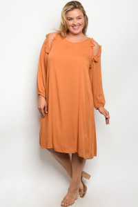 S19-2-4-D5991X MUSTARD PLUS SIZE DRESS 2-2-2