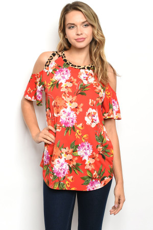 C62-B-2-T22251 RED FLORAL TOP 2-2-2