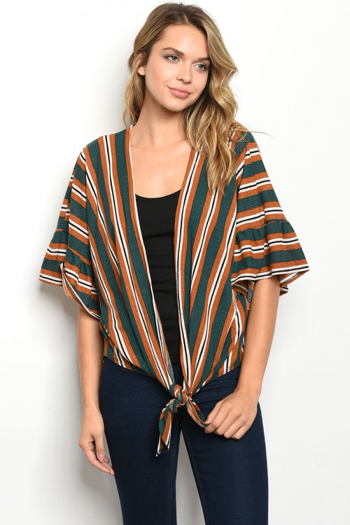 C56-B-2-T50809 GREEN CAMEL STRIPES TOP 2-2-2