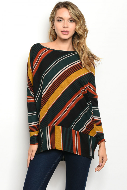 C17-B-2-T51035 GREEN STRIPES TOP 2-2-2