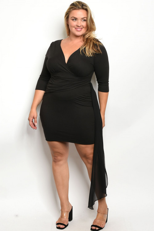 C18-A-4-D551X BLACK PLUS SIZE DRESS 2-2-2