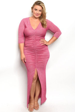 C25-A-2-D557X FUCHSIA WITH SHIMMER PLUS SIZE DRESS 2-2-2