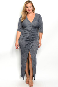 C27-A-5-D557X NAVY WITH SHIMMER PLUS SIZE DRESS 2-2-2