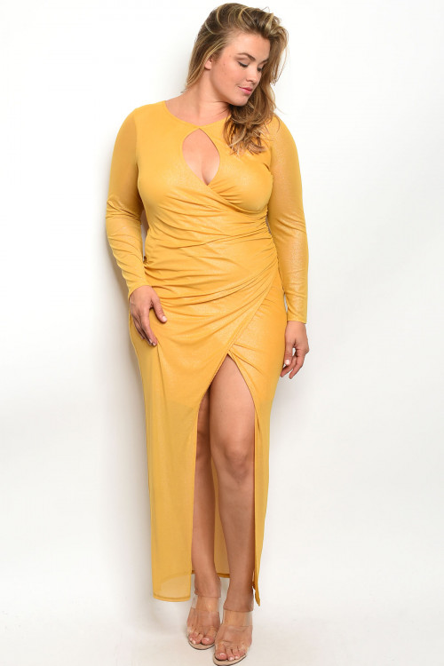 C32-A-2-D610X MUSTARD METALLIC PLUS SIZE DRESS 2-2-2
