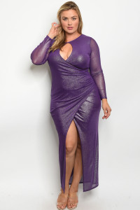C36-A-3-D610X PURPLE METALLIC PLUS SIZE DRESS 2-2-2