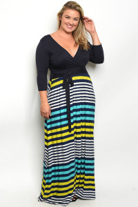 S10-4-1-D5846X NAVY AQUA STRIPES PLUS SIZE DRESS 2-2-2