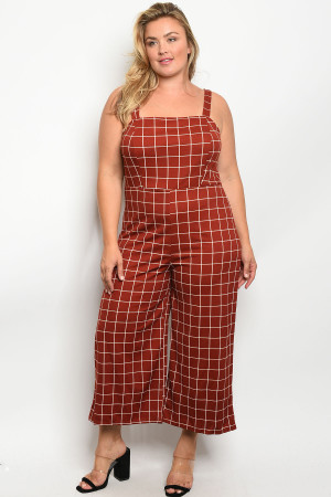 S9-4-2-O13429X RED WHITE PLUS SIZE OVERALL 2-2-2