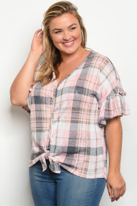 S10-12-5-T13191X PINK CHECKERED PLUS SIZE TOP 2-2-2