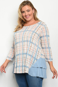 S10-12-5-T12933X IVORY BLUE PLUS SIZE TOP 2-2-2