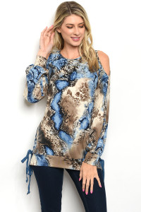 S11-7-4-T32511 BLUE SNAKE ANIMAL PRINT TOP 2-2-2
