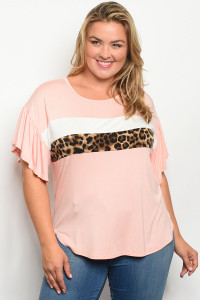 C97-B-3-T13642X PINK ANIMAL LEOPARD PRINT PLUS SIZE TOP 2-2-2