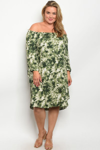 C89-A-6-D11922X OLIVE CREAM TIE DYE PLUS SIZE DRESS 2-2-2