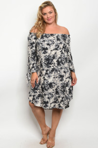 C85-A-3-D11922X BLACK GRAY TIE DYE PLUS SIZE DRESS 2-2-2