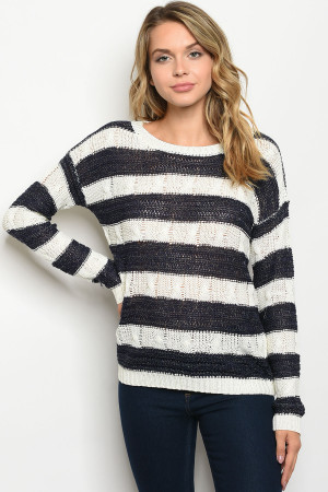 S2-4-2-S2356 NAVY IVORY STRIPES TOP 3-3