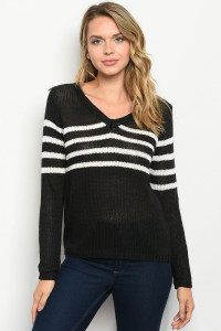 S16-9-1-S2371 BLACK IVORY SWEATER / 3PCS