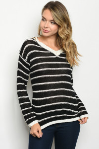 S9-5-2-S2365 BLACK IVORY STRIPES SWEATER 3-3