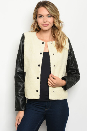 S25-4-2-J3272 IVORY BLACK FAUX FUR JACKET 2-2-2  ***WARNING: California Proposition 65***