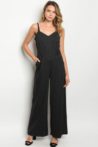 Y-B-J30211 CHARCOAL STRIPES JUMPSUIT 2-2-2