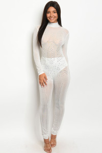 S8-8-1-J21139 WHITE WITH STONES JUMPSUIT 2-2-2  ***WARNING: California Proposition 65***