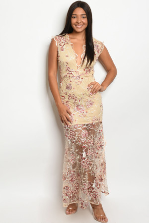 S8-1-2-D10415 NUDE BURGUNDY EMBROIDERY DRESS 2-2-2