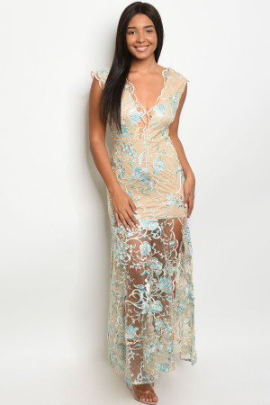 S8-5-1-D10415 NUDE AQUA EMBROIDERY DRESS 2-2-2