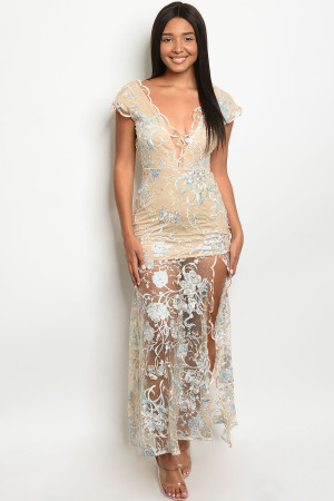 S12-4-1-D10415 NUDE BLUE EMBROIDERY DRESS 2-2-2
