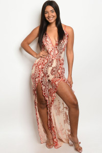 S8-5-1-J20702 NUDE RED WITH SEQUINS JUMPSUIT 2-2-2  ***WARNING: California Proposition 65***
