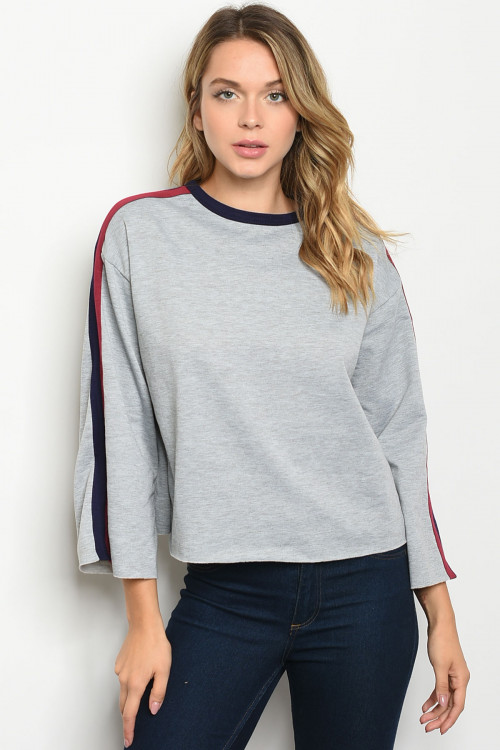 C47-B-3-T2452 GRAY NAVY SWEATER 2-2-2