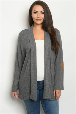 C100-A-4-C5535X CHARCOAL PLUS SIZE CARDIGAN 3-3-1