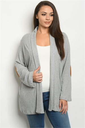 C97-A-5-C5535X GRAY PLUS SIZE CARDIGAN 3-3-1