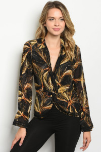 S16-8-1-T27934 BLACK YELLOW PRINT TOP 2-3-3