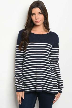 S16-7-3-S1596 NAVY WHITE STRIPES SWEATER 4-1