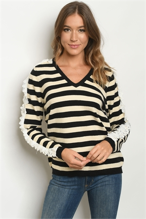 S16-7-3-S1630 BLACK CREAM STRIPES SWEATER 3-1
