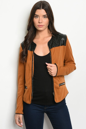 S16-7-3-J8955 CAMEL BLACK JACKET 3-2-2