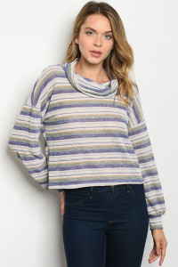 C12-B-3-T5076 BLUE STRIPES TOP 2-2-2