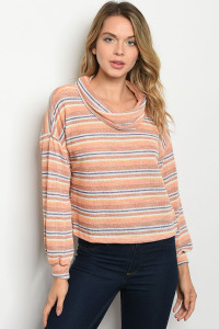 C12-B-6-T5076 PEACH STRIPES TOP 2-2-2